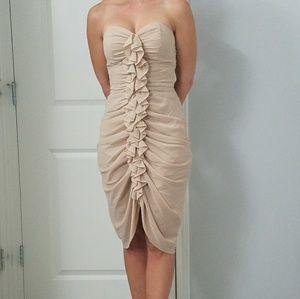 H&M nude ruffle strapless dress